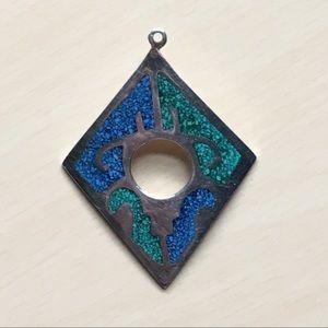 Vintage large crushed turquoise & emerald pendant